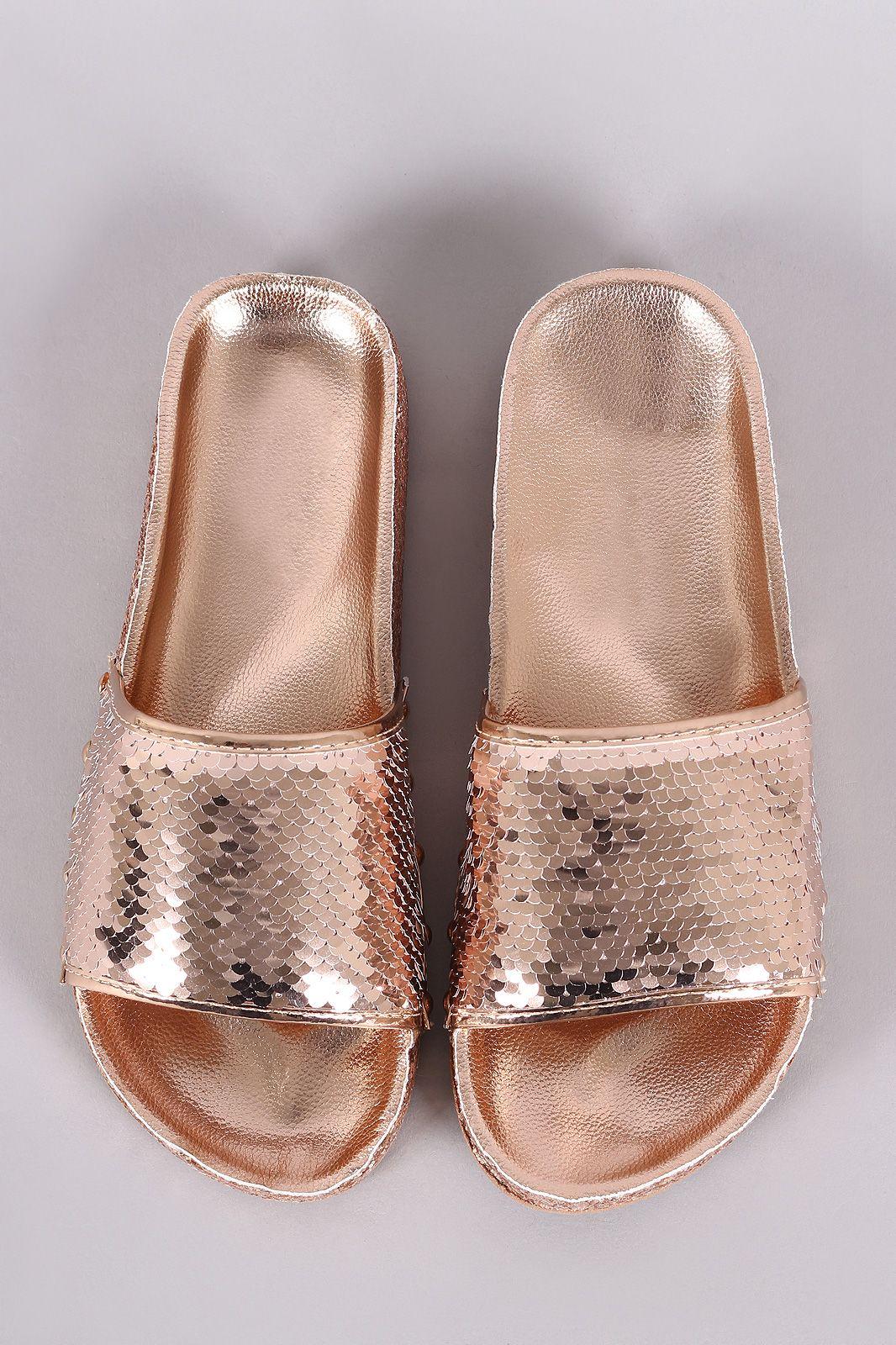 900560253eef Studded Glitter Encrusted Sequin Open Toe Slide Sandal
