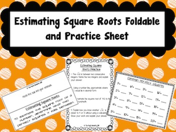 Estimating Square Roots Foldable And Practice For Interactive