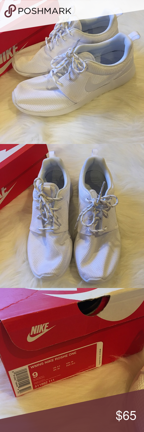 All White Nike Roshe Ones Brand new with box! Never been worn! Nike Shoes Athletic Shoes