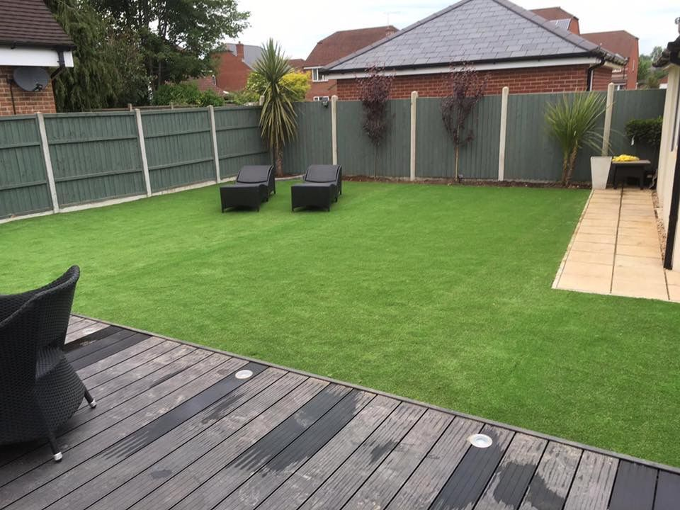 Low maintenance garden to relax in composite decking and for Garden decking and grass