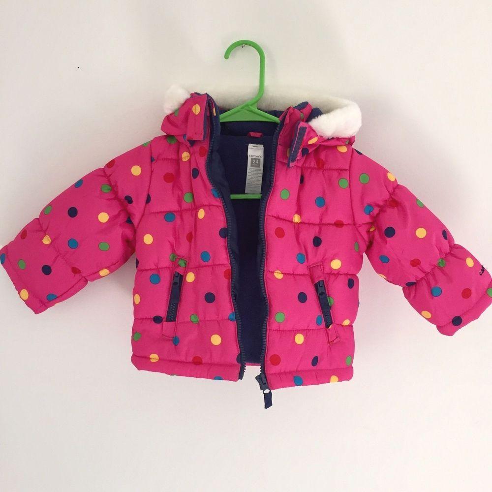 Carters Girls, Puffer Snow Winter Jacket, Pink, Polka Dots - Size 24 ...