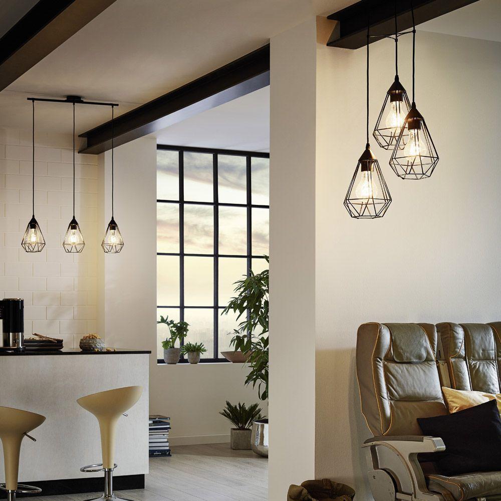 Eglo Tarbes Triple Drop Black Pendant Light Kitchen