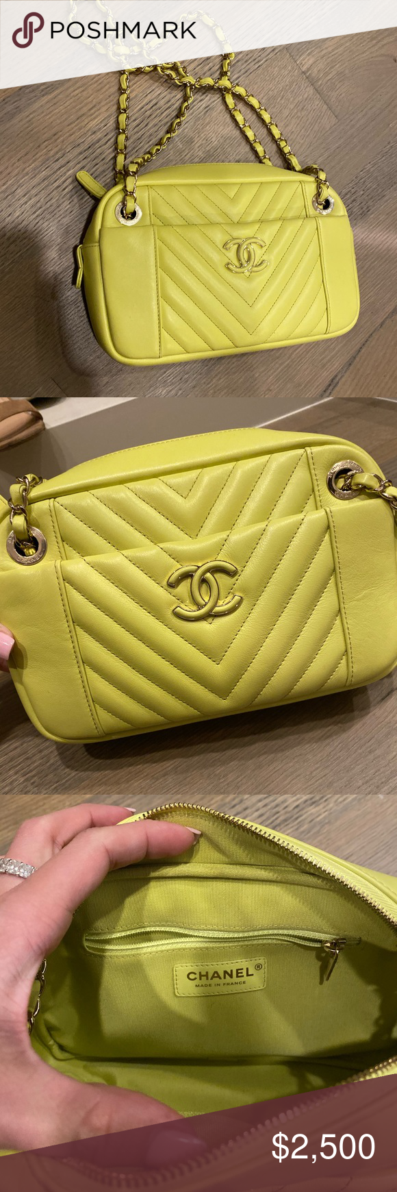 Authentic Neon Chanel Camera Purse 100% Authentic neon Chanel camera bag. Purchased at the Chanel store on Rodeo Drive, snapshot of receipt included. Lamb skin, used only once. PERFECT condition. DM for more info Bags Shoulder Bags #camerapurse