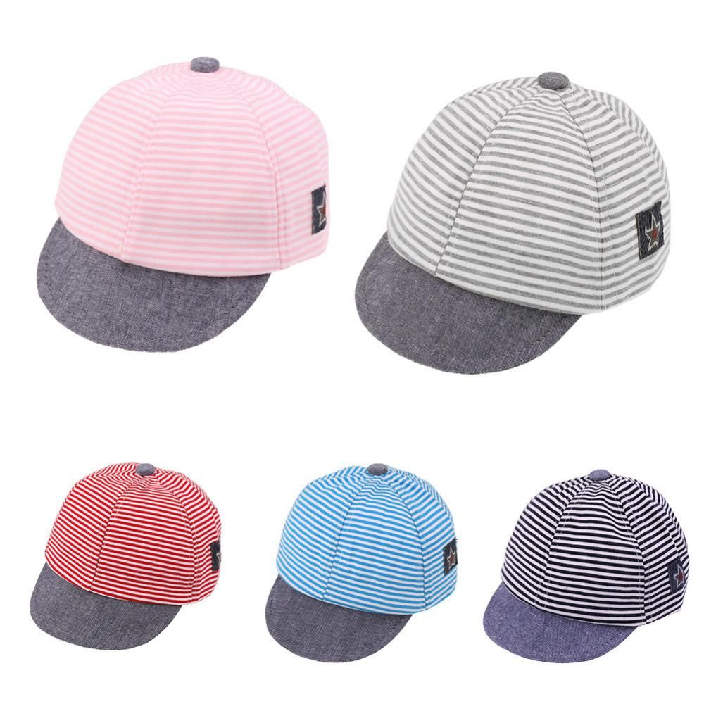 504a4fa23f855 Unisex Kid Hats Girl Boy Cotton Stripe Caps