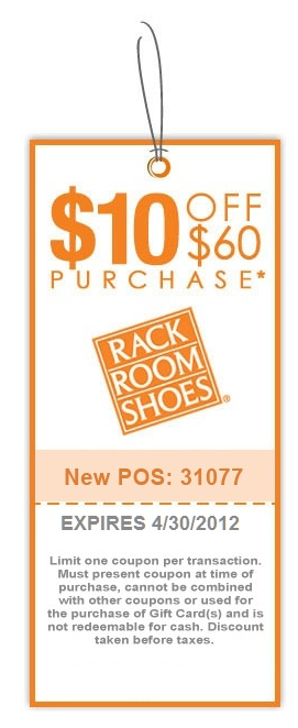 graphic regarding Rack Room Shoe Printable Coupons named $10 off $60 at Rack Area Sneakers Discount codes Totally free printable
