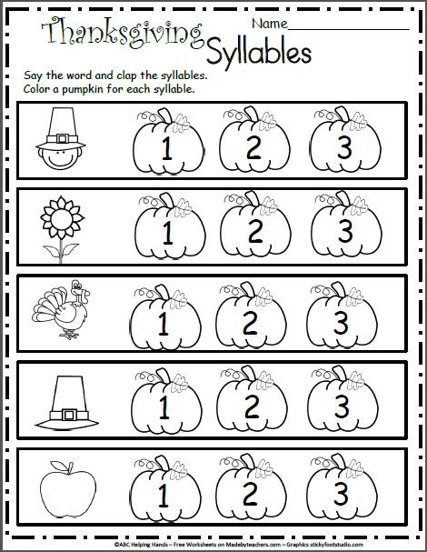 Free Kindergarten Worksheets for November - Syllables | K Reading ...