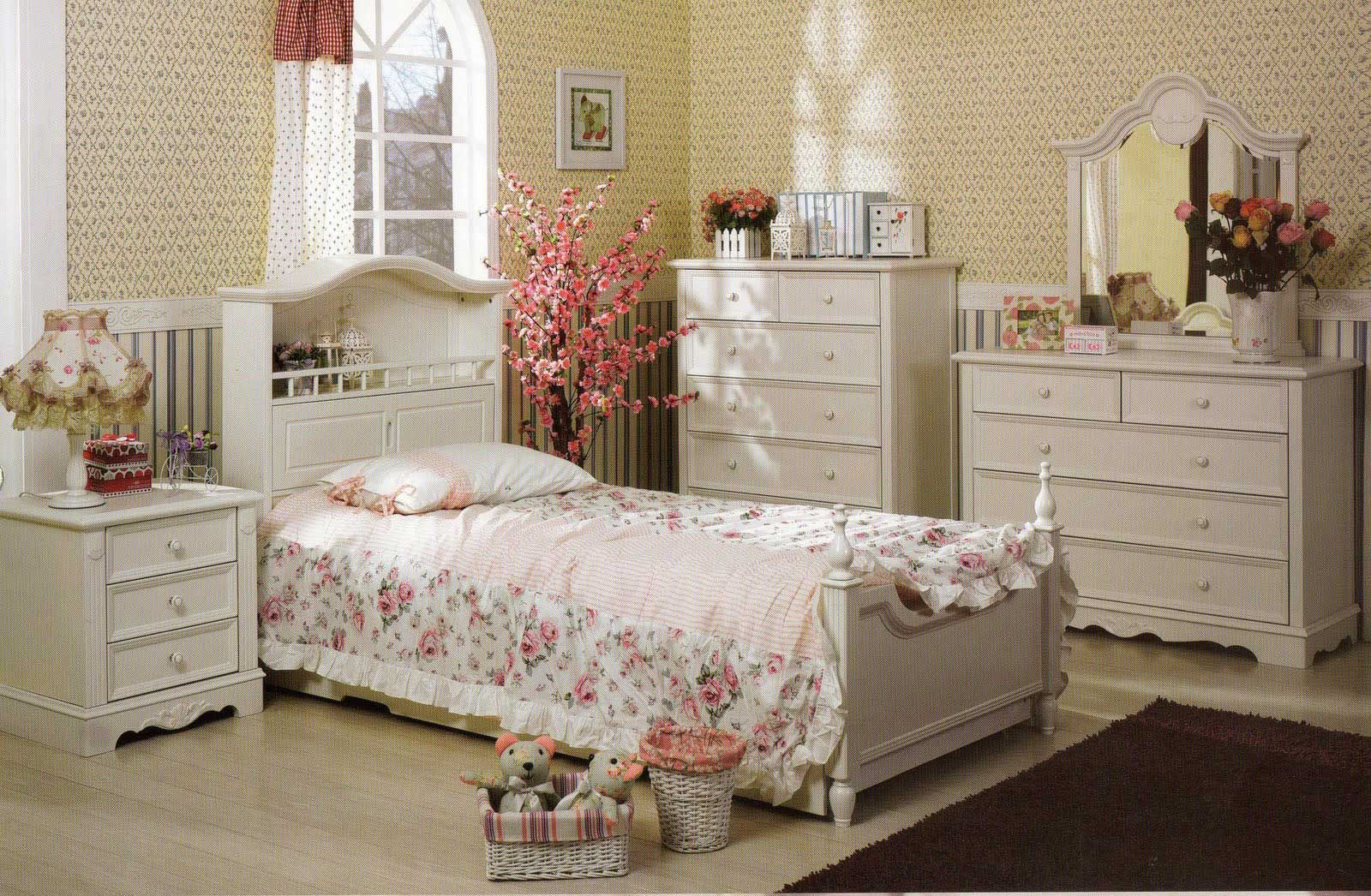 Beautiful Cream Paint Wall Color French Country Bedroom Ideas With White Wood  Furniture Nightstand And Dresser Glass Window Black Roof With Amazing  Interior Design