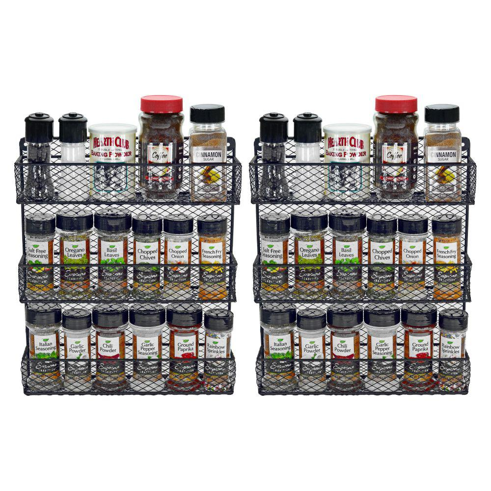 Southern Homewares 3 Shelf Black Wall Mount Spice Rack Organizer Set Of 2 Sh Hd 10208 The Home Depot Wall Spice Rack Spice Rack Organiser Spice Rack