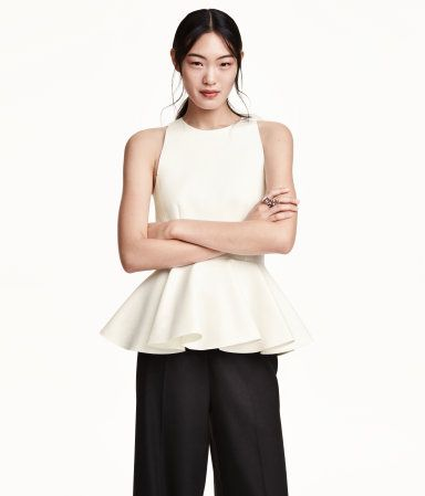 20158e3533831 H M - Sleeveless peplum top in thick jersey with raw edges ...