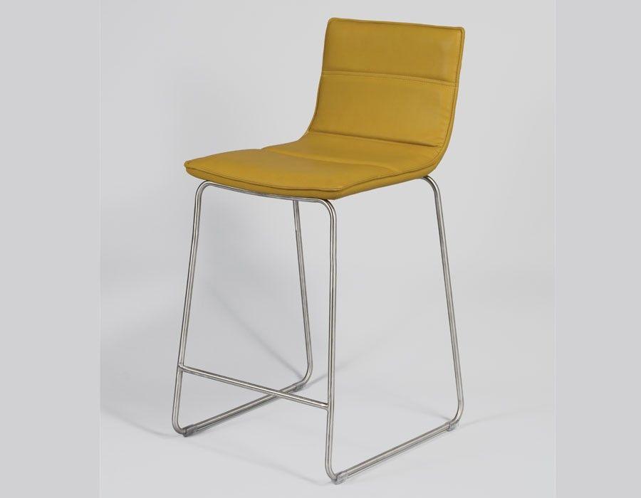 Chaise Haute Design Jaune En Tissu TARDE Lot De 4 7 Coloris Au