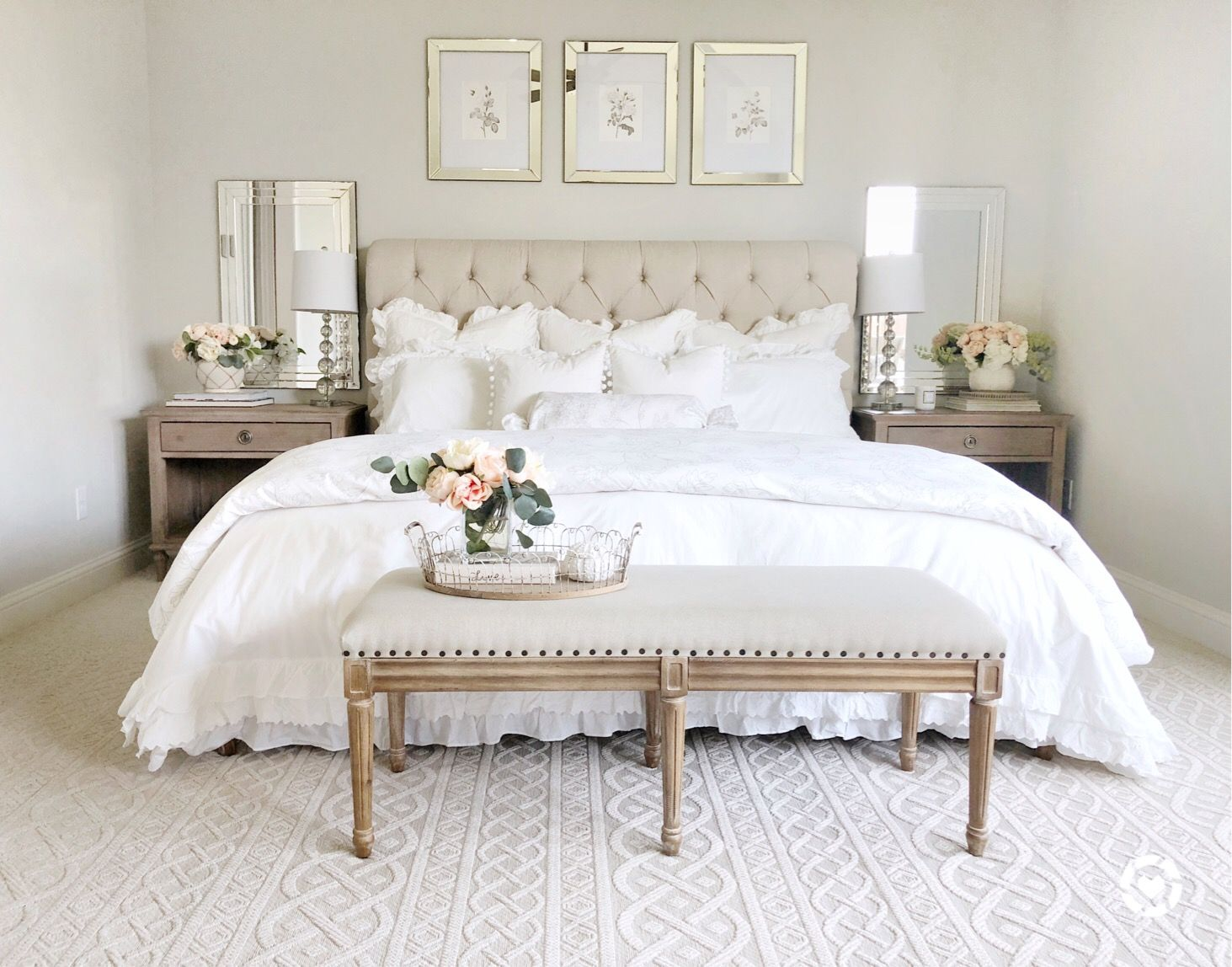 Bedroom, bedroom decor, tufted headboard, French country