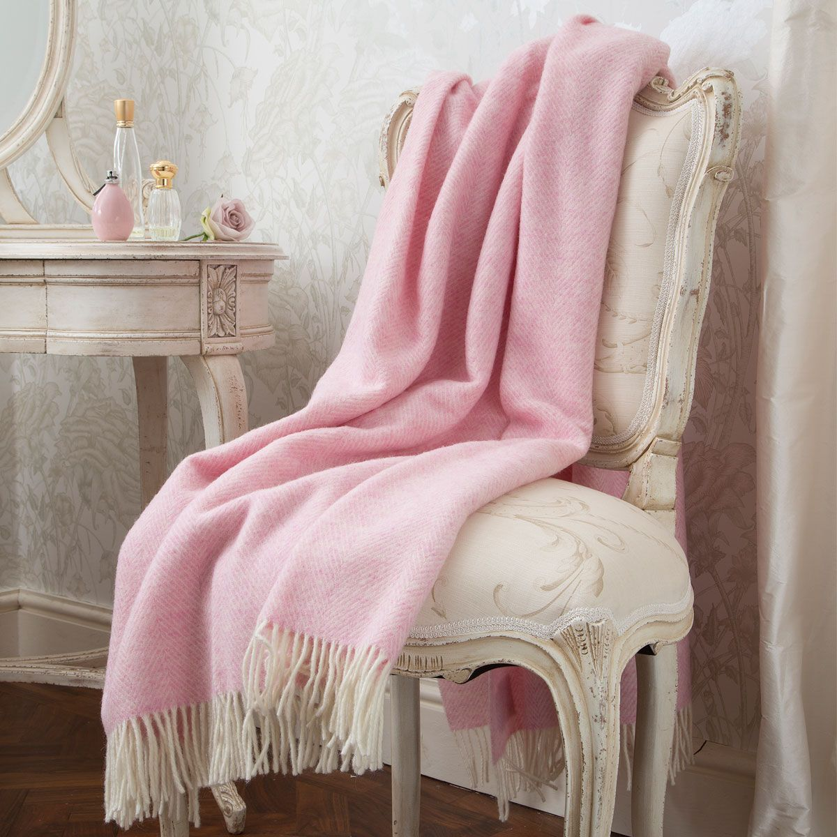 Variegated Herringbone Pink Heather Blanket by The French Bedroom Company