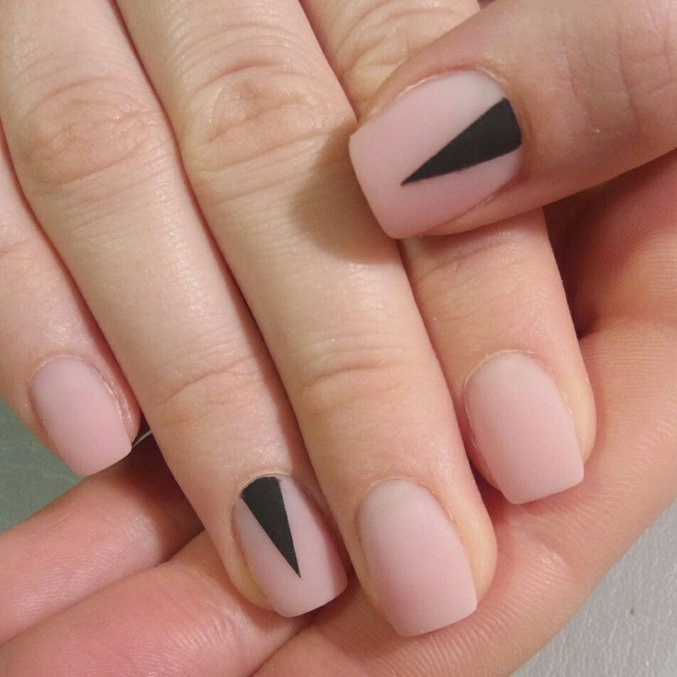 Simple nail design.Natural look with black geometric detail. | Nails ...