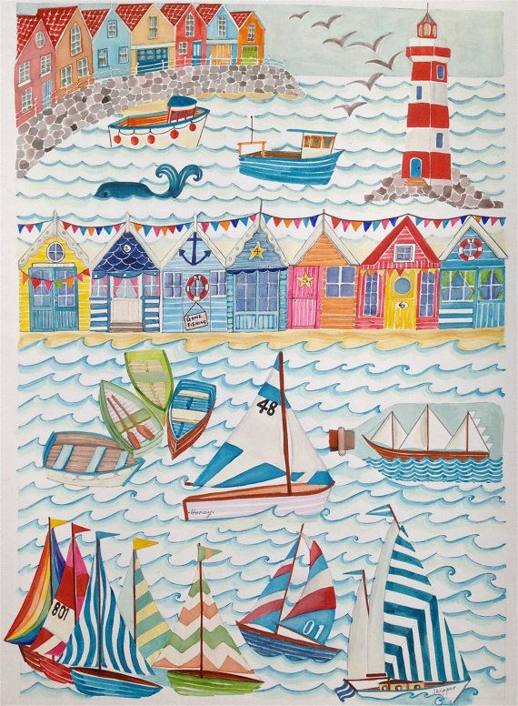 Nautical Seaside Illustration A4A3 Sailing Boats Amp By LouiseThrop Nautical Painting Seaside