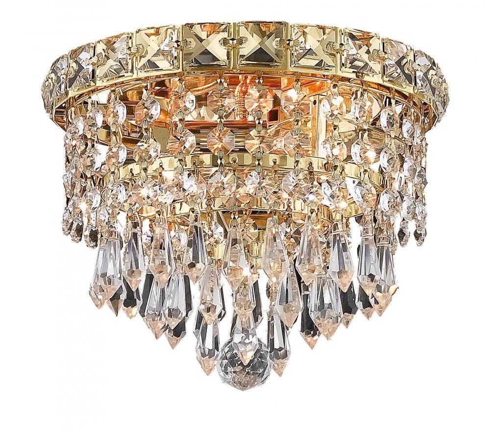 2526 Tranquil Collection Flush Mount D8in H7in Lt:2 Gold Finish (Royal Cut Crystals) : 79V6M | Bright Light Design Center