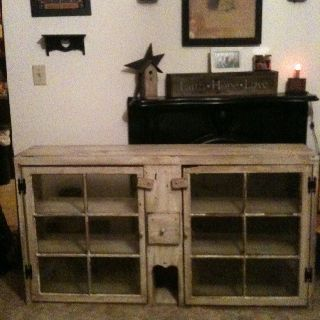 Old windows made into cabinet