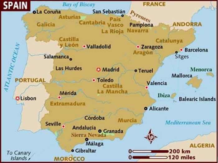 Spain Map Of Spain Ilhas Baleares Mapa Espanha