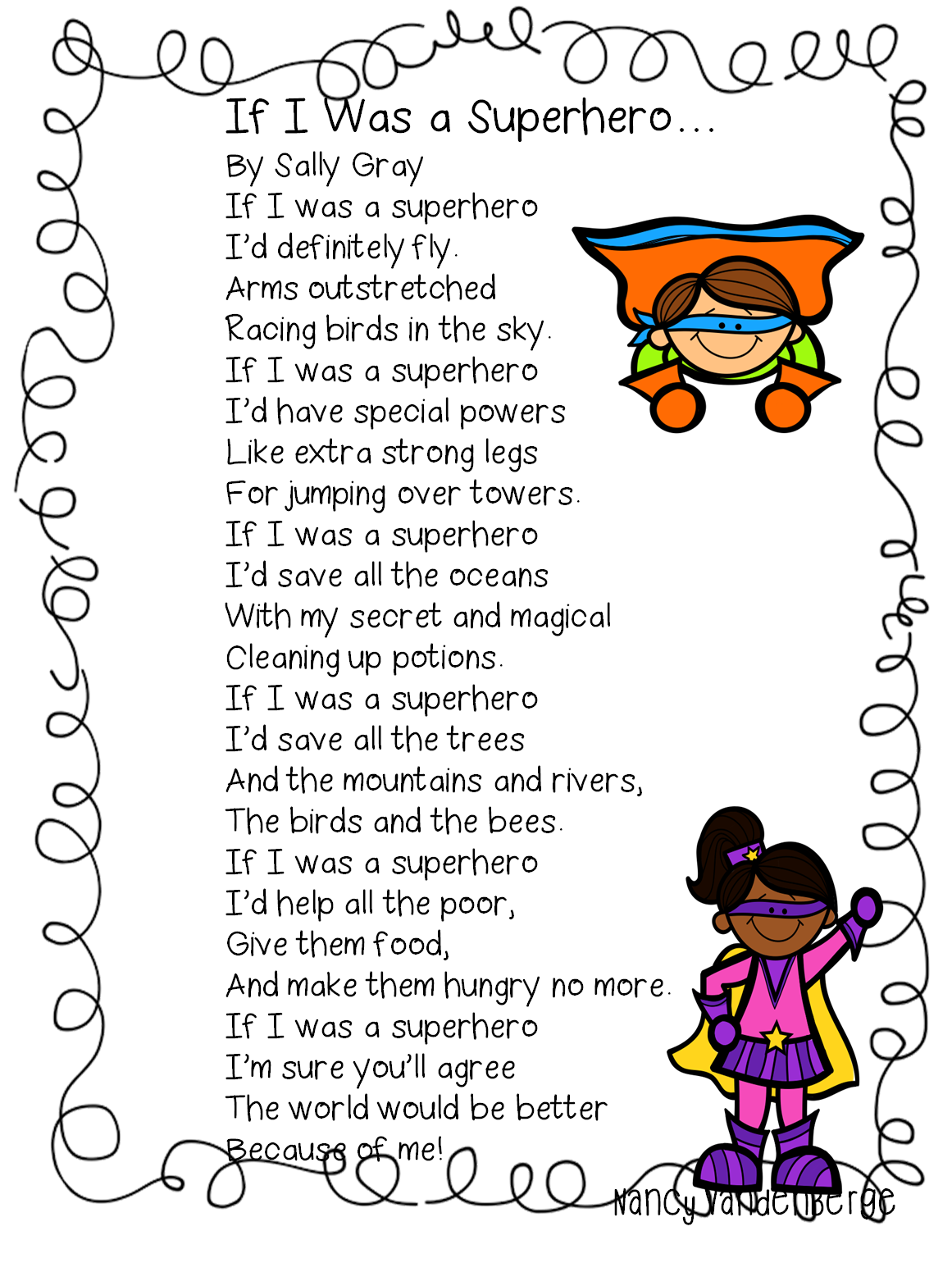 Fun Superhero Poem To Use For Word Work Language Arts And Phonics Activities