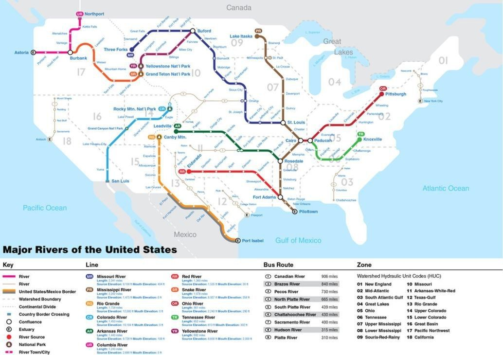 Map Of Waterways In Us The Rivers of the U.S., Collected Into a Nifty Subway Map | Subway