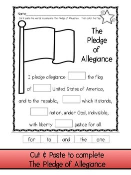 pledge of allegiance freebie cut paste color write kindergarten pinterest social. Black Bedroom Furniture Sets. Home Design Ideas