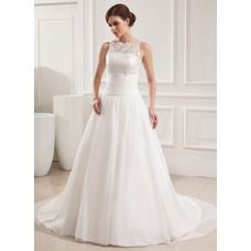[US$ 199.99] Ball-Gown Scoop Neck Court Train Chiffon Lace Wedding Dress With Ruffle (002019534)
