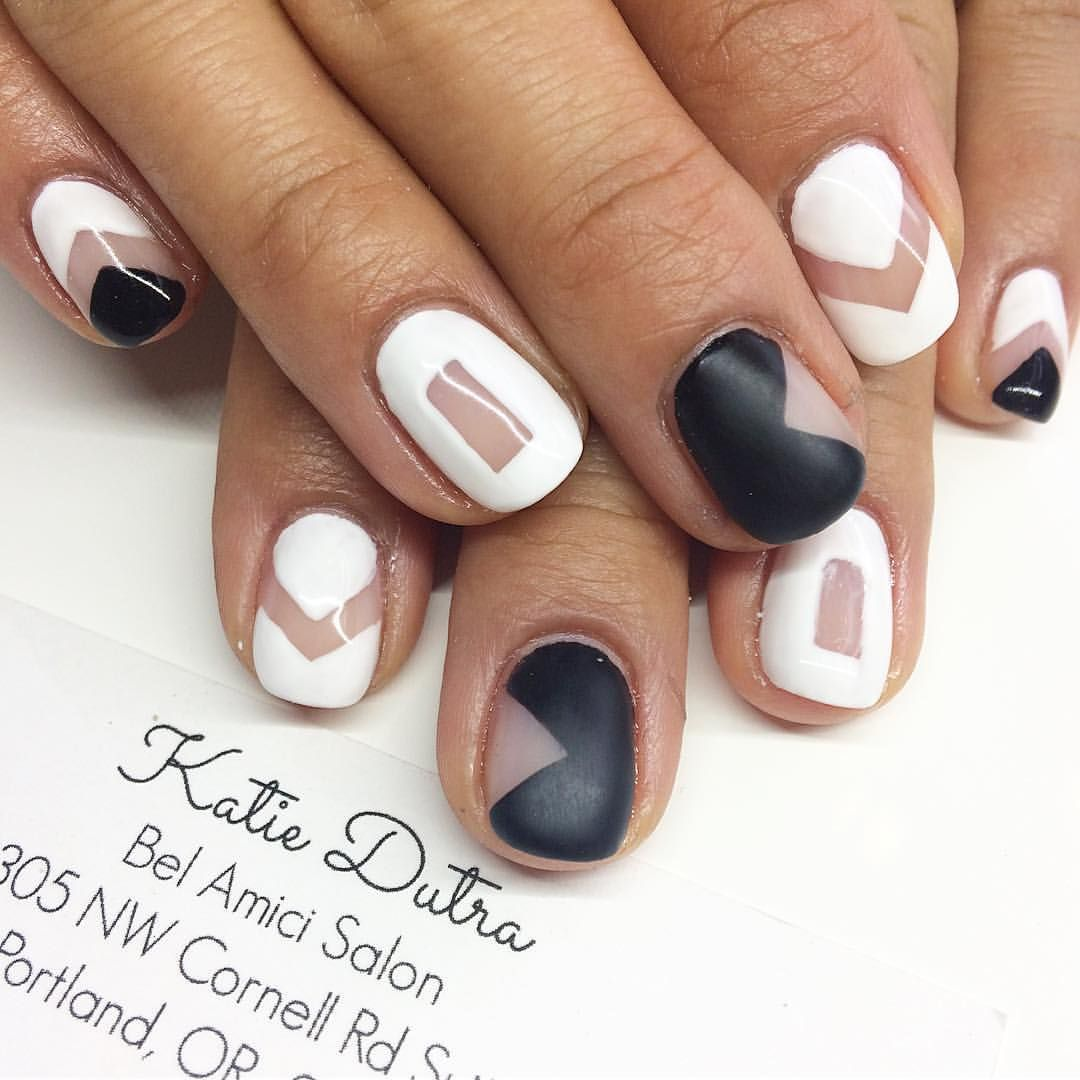 Black and white gel nail art   Nails by Katie Dutra   Pinterest ...