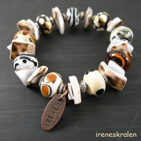 Armband met Homemade Lampwork GlasKralen van irenesKralen op DaWanda.com