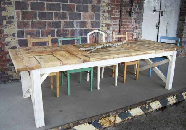 Tisch im Landhaus-Stil aus Bauholz Liv 250x100 cm Dinner table - kücheninsel selbst gebaut