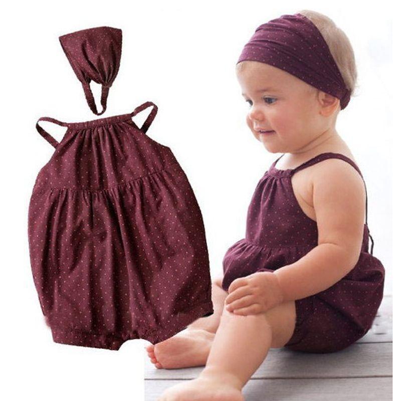 Cn Summer Cute Baby Jumpsuit Dots Sling Bodysuits Headband 2