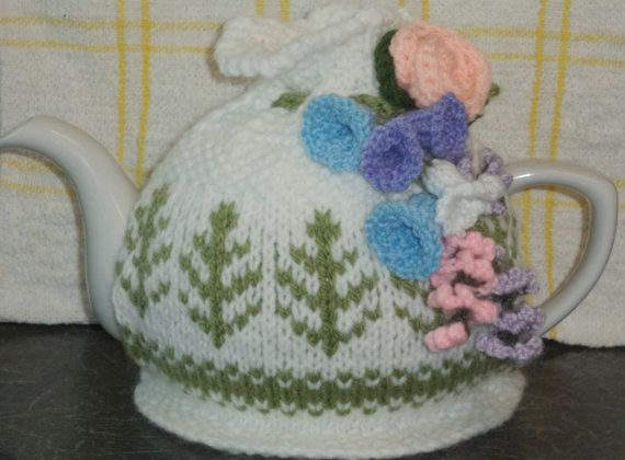 fair isle and floral hand knitted tea cosy by peerietreisures, £10.50