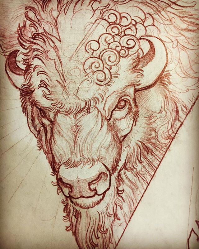 Instagram Post By Mike Moses Thedrowntown Buffalo Tattoo Bull Tattoos Bison Tattoo