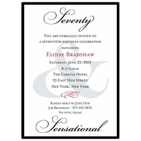 Classic 70th Birthday Milestone Invitations