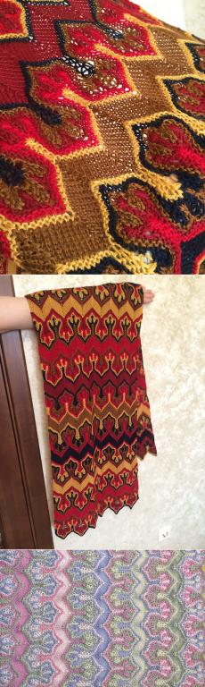 Fox Paws - шарф Лисьи Лапки - многоцветный узор спицами, но это не жаккард! - Вязание спицами - Страна Мам