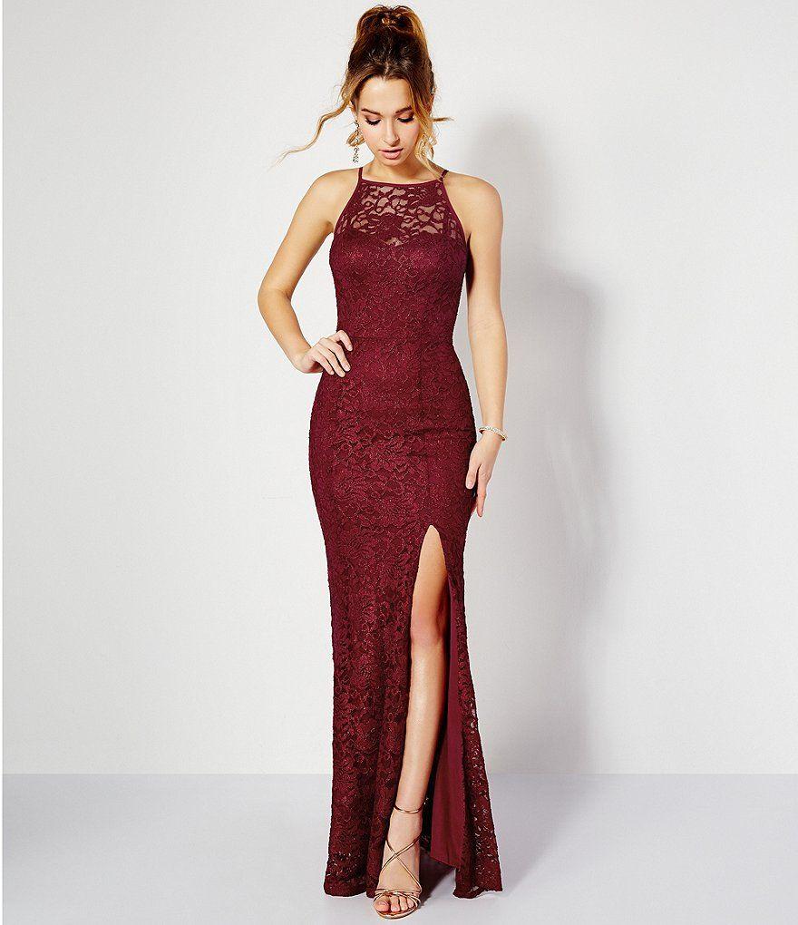 Xtraordinary high neck illusion yoke long lace dress bridesmaid
