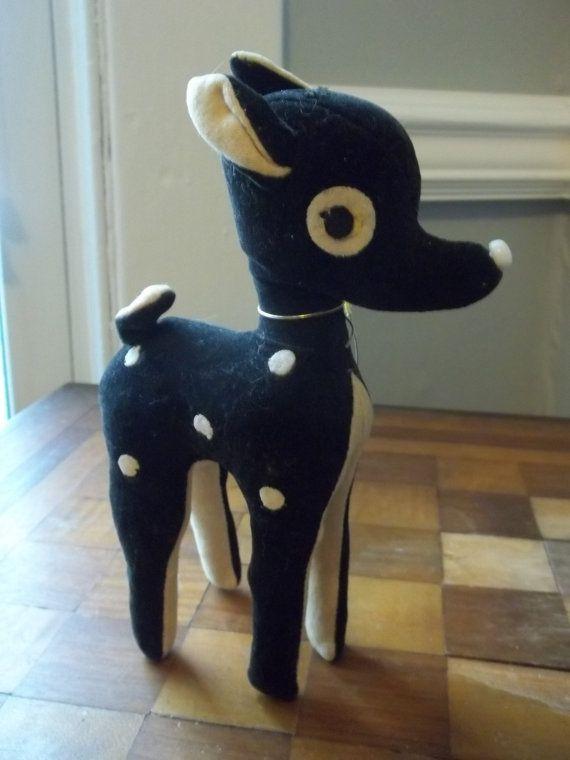 Vintage Flocked Stuffed Deer Black with by TheHoneysuckleTree