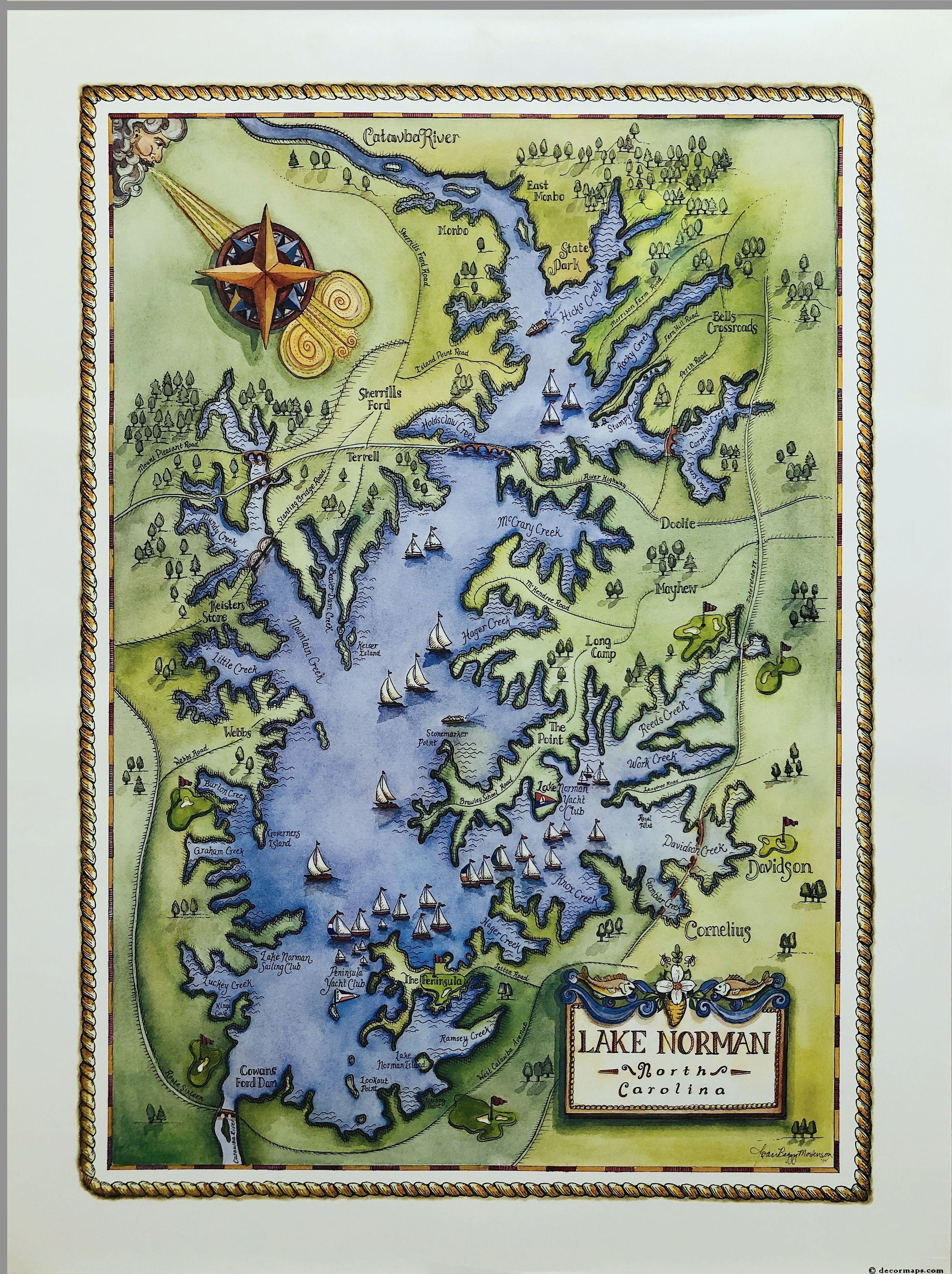 Lake Norman Nc 18 X 24 Decor Map Lake Norman North Carolina Red Wall Art North Carolina Map