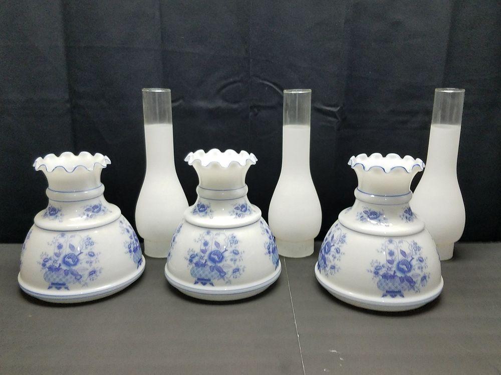 Vintage Glass Hurricane Chandelier Light Lamp Globe Shade Chimney Blue White Set