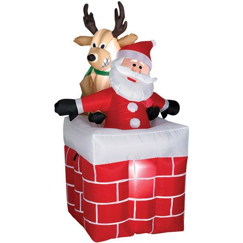 4 tall animated airblown reindeer with santa christmas prop patio outdoor decor - Reindeer With Santa