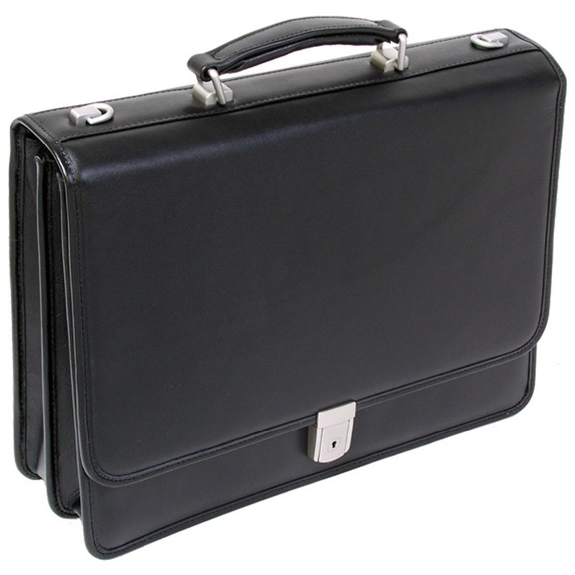 Mcklein Usa V Series Lexington Leather Double Compartment Briefcase Black