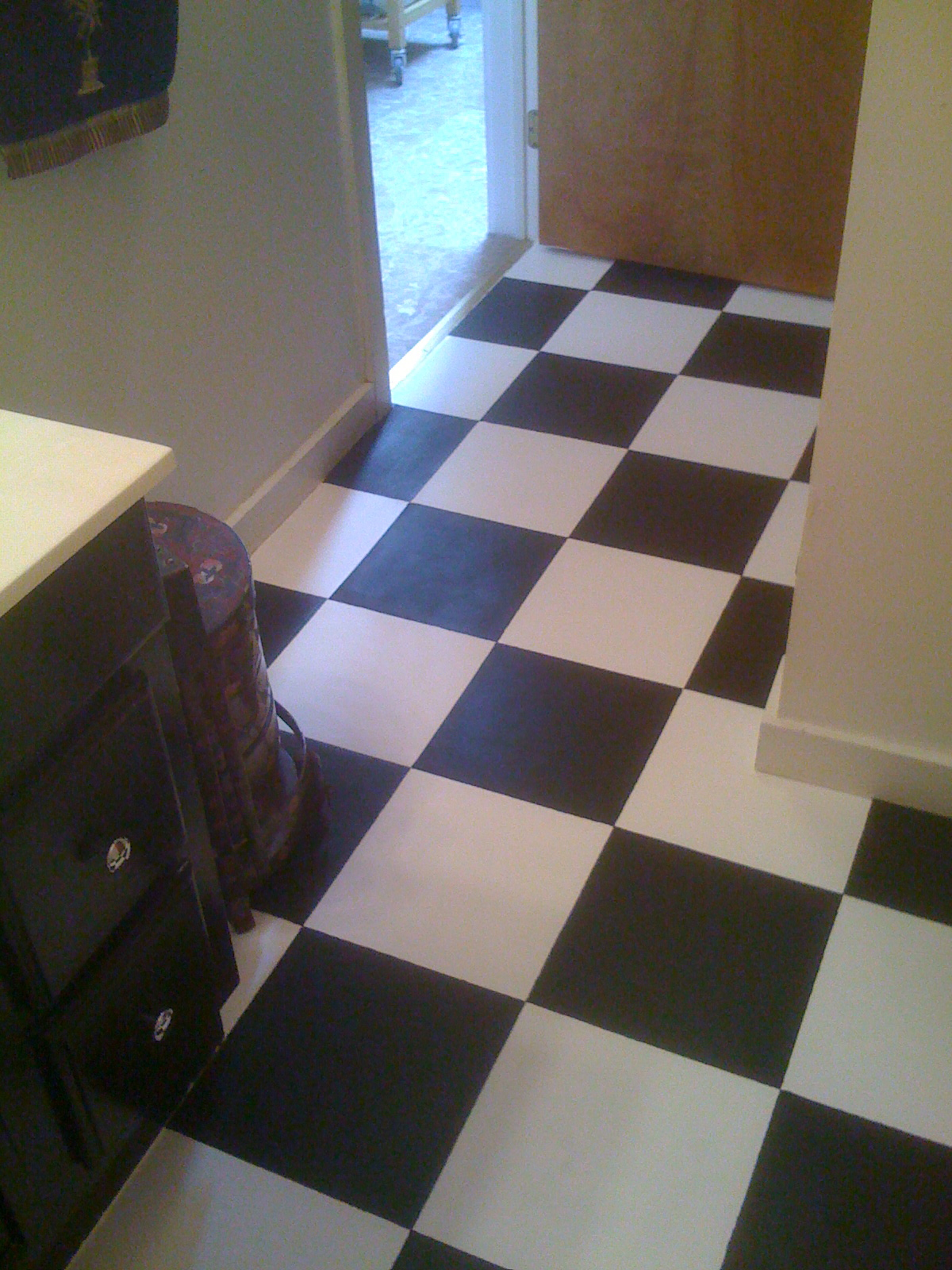 Bath after 2 kitchen pinterest bath ive been thinking about painting my vinyl bathroom floor tiles dailygadgetfo Choice Image