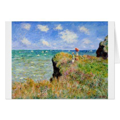 Clifftop Walk at Pourville - Claude Monet Card - classic gifts gift ideas diy custom unique