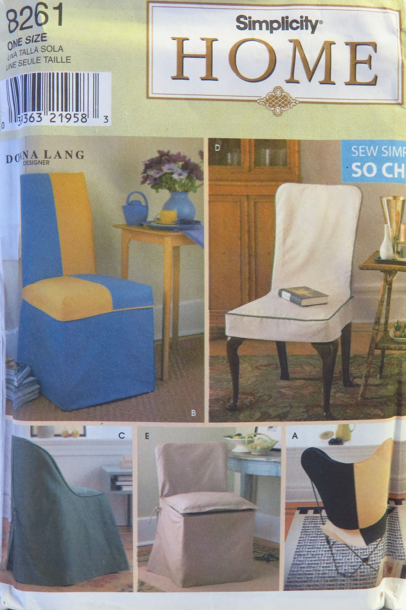 Chair Cover Patterns Simplicity 8261 Chair Covers Simplicity Patterns Chair Covers