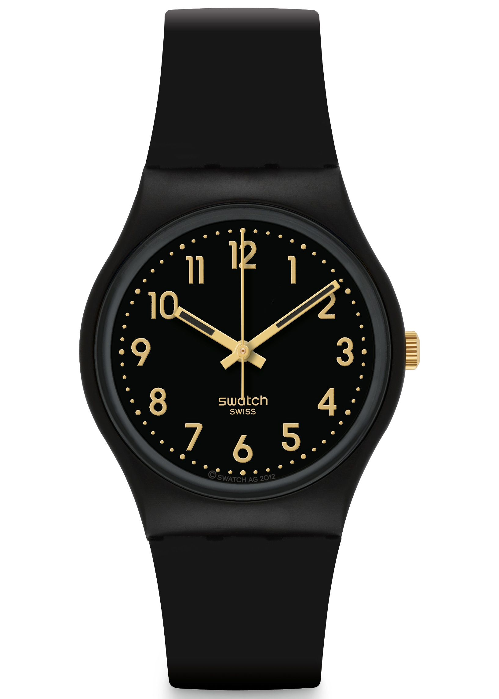 e19ed4ae58e SWATCH GOLDEN TAC UNISEX WATCH £32.00 The Swatch Ladies Golden Tac Watch  has a black plastic strap and a black dial. Is water resistance.  swatch   watch