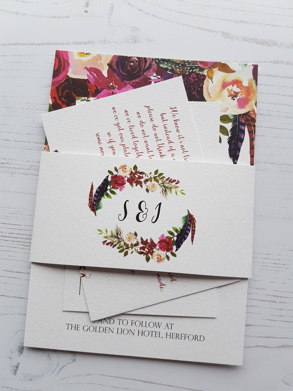 Boho Floral Wedding Invitation SAMPLE set, RSVP Poem Card Invite ...