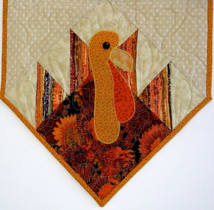 Turkey Quilted Table Runner - Autumn Thanksgiving Pumpkin   Quilt ... : thanksgiving table runner quilt patterns - Adamdwight.com