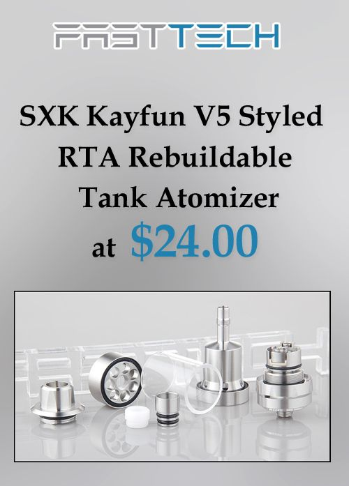 At FastTech, they are offering SXK Kayfun V5 Styled RTA Rebuildable Tank Atomizer at $24.00. Get hurry now and avail this deal. For More FastTech Coupon Codes Visit: http://www.couponcutcode.com/stores/fasttech_coupon_codes/