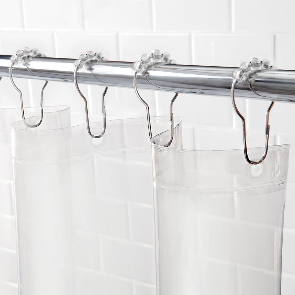 Kenney Peva 72 In Clear Shower Curtain Liner And Rolling Ring Set