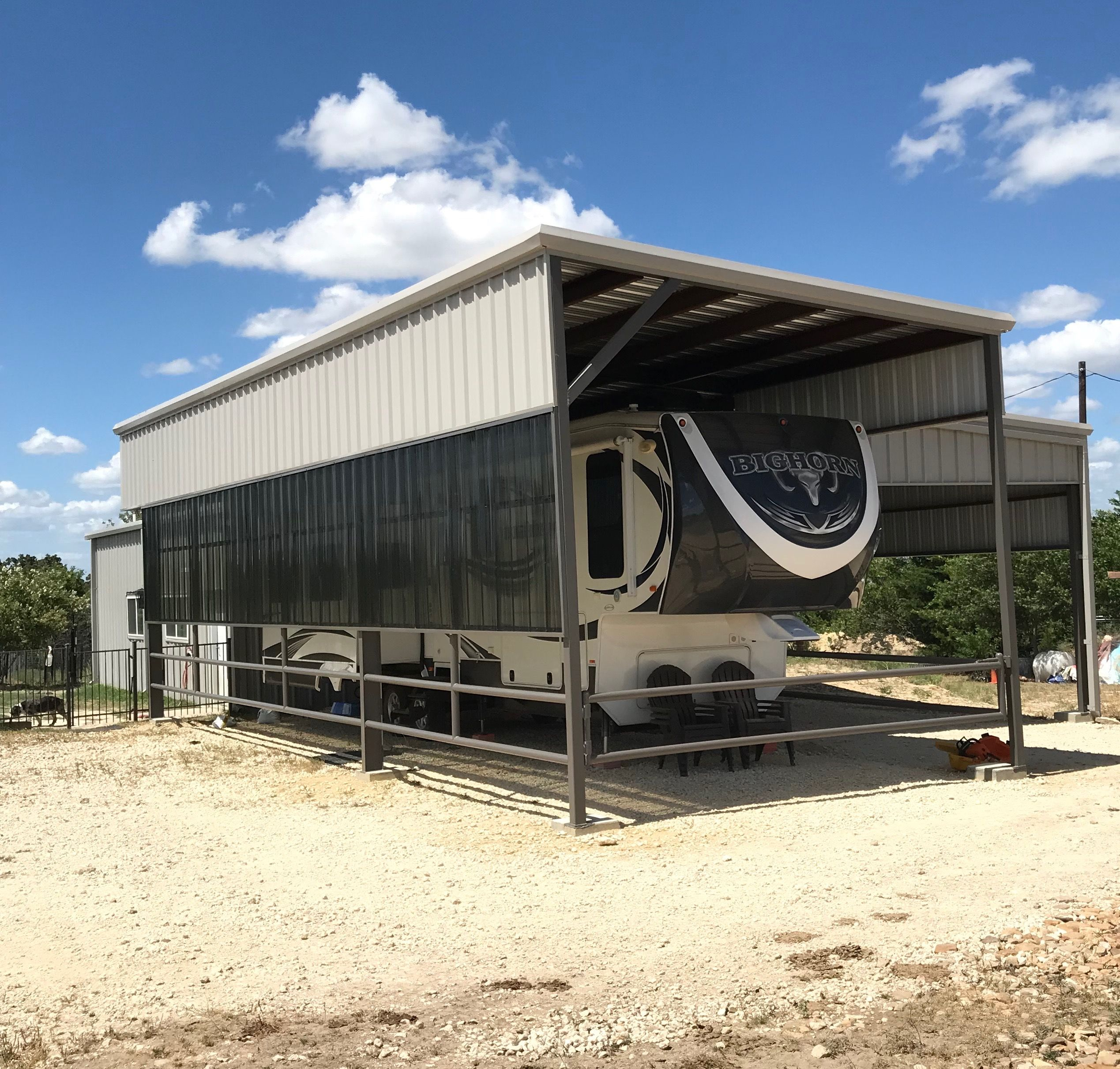 RV Cover/Carport built by HRP Services in Dublin, TX