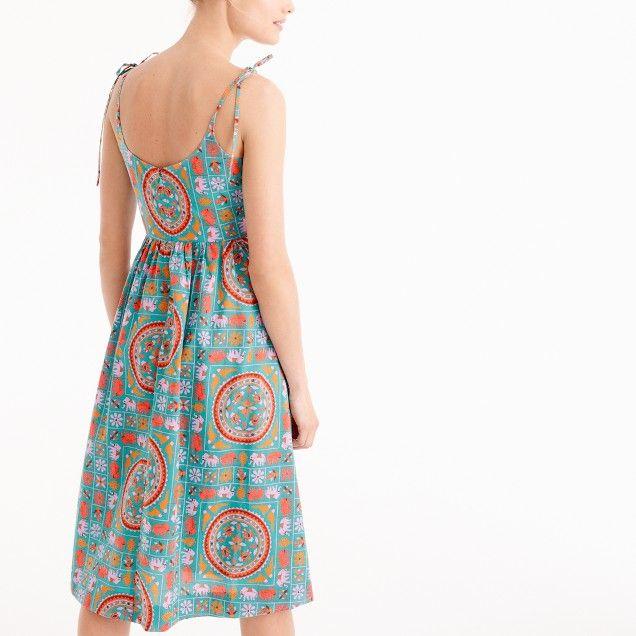 f4f543b10ef7c2 Drake s® for J.Crew tie-shoulder dress in tiled elephant print ...