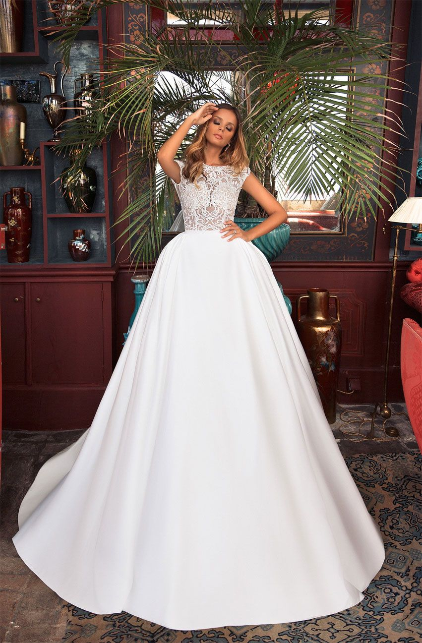 Cap sleeves round neck heavy embellishment ball gown wedding dress  : Milla Nova wedding dress #weddingdress #weddinggown #wedding #bridedress